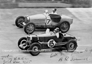 Bugatti  T35 and MG KA0256 (A R Samuel) . Photo. Brooklands Gold Star 1935.
